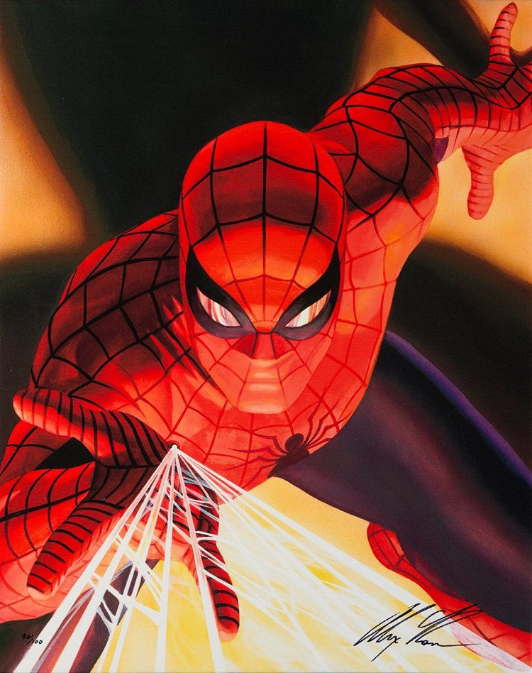 marvel-spiderman-alex-ross-canvas-art-signed [750 x 948]
