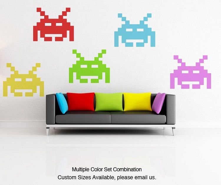 space-invaders-déoration-wall-sticker-decal-autocollant [750 x 627]