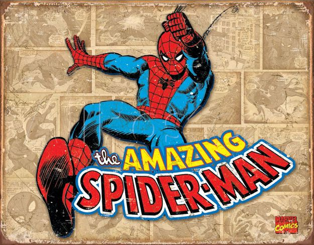 spiderman-panneau-metal-metallique-marvel-retro-comics [625 x 488]