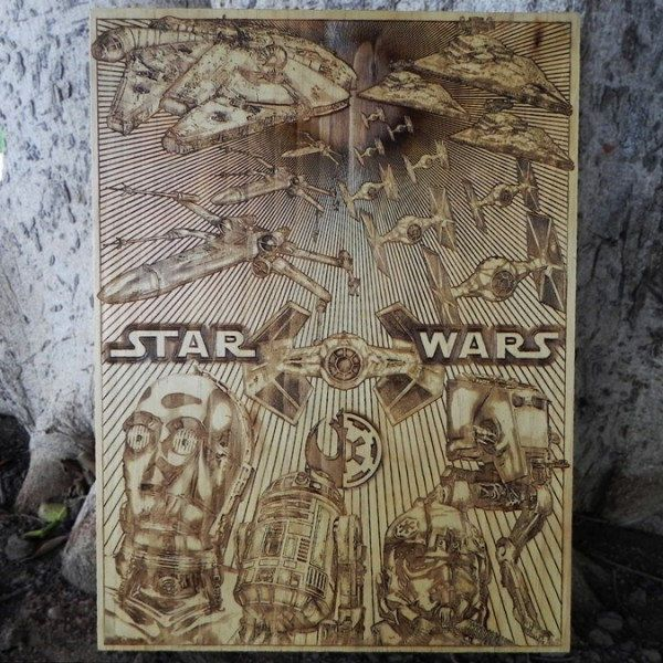 16 tableaux en bois grav s au laser star wars alien. Black Bedroom Furniture Sets. Home Design Ideas