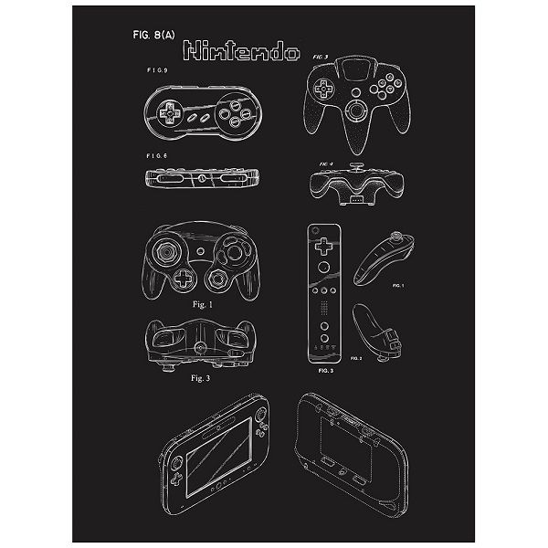 poster-affiche-brevet-nintendo-console-manette-gaming-retrogaming [600 x 600]