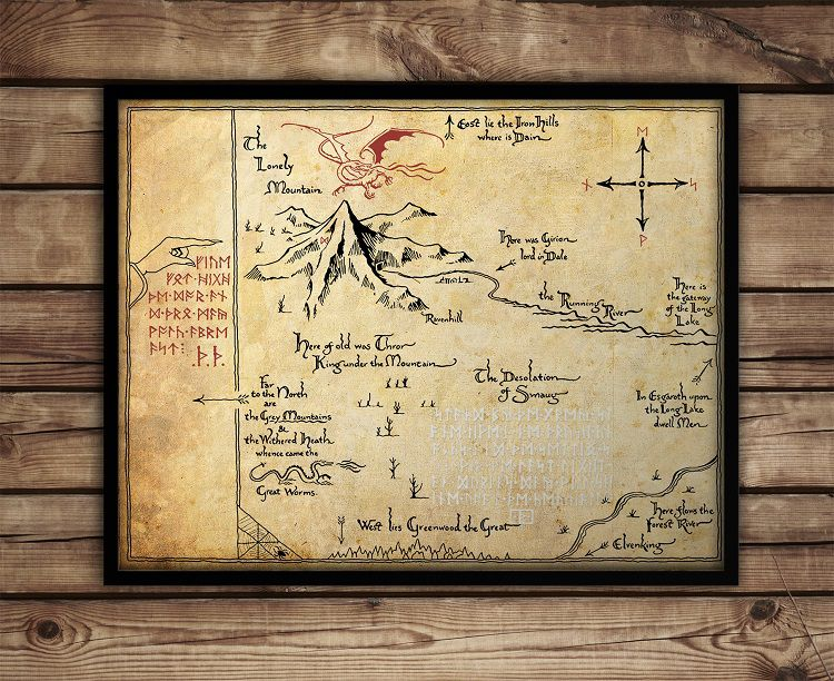 carte-tableau-terre-milieu-hobbit-thorin-decoration-affiche-poster [750 x 612]