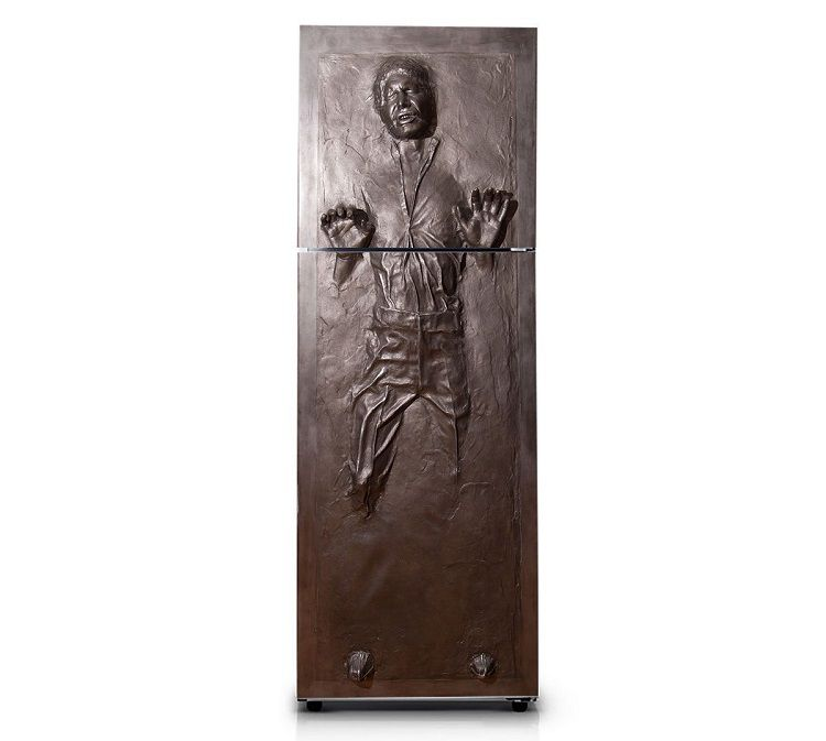 2 autocollants sarcophage han solo dans la carbonite pour for Decoration porte frigidaire