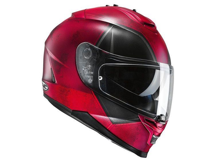un superbe casque de moto deadpool par hjc. Black Bedroom Furniture Sets. Home Design Ideas