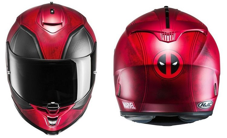 2 superbes casques de moto deadpool par hjc. Black Bedroom Furniture Sets. Home Design Ideas