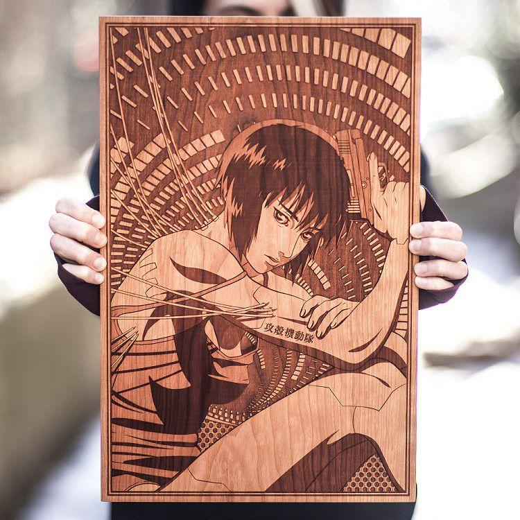 GhostintheShell-spacewolf-gravure-bois-tableau-anime [750 x 750]