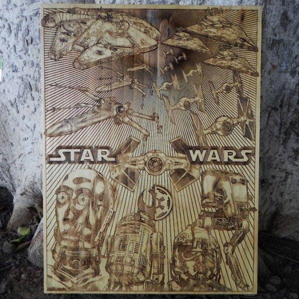 star-wars-tableau-panneau-bois-affiche-poster [600 x 600]